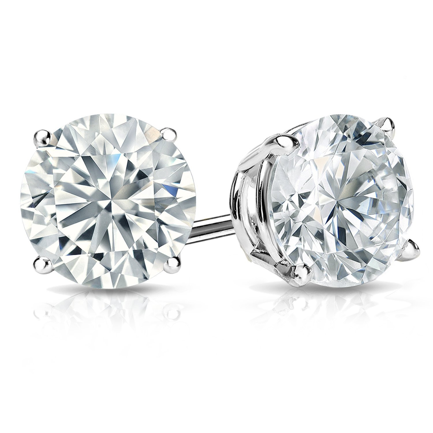 studs earrings white carat weight stud prong total diamond premier