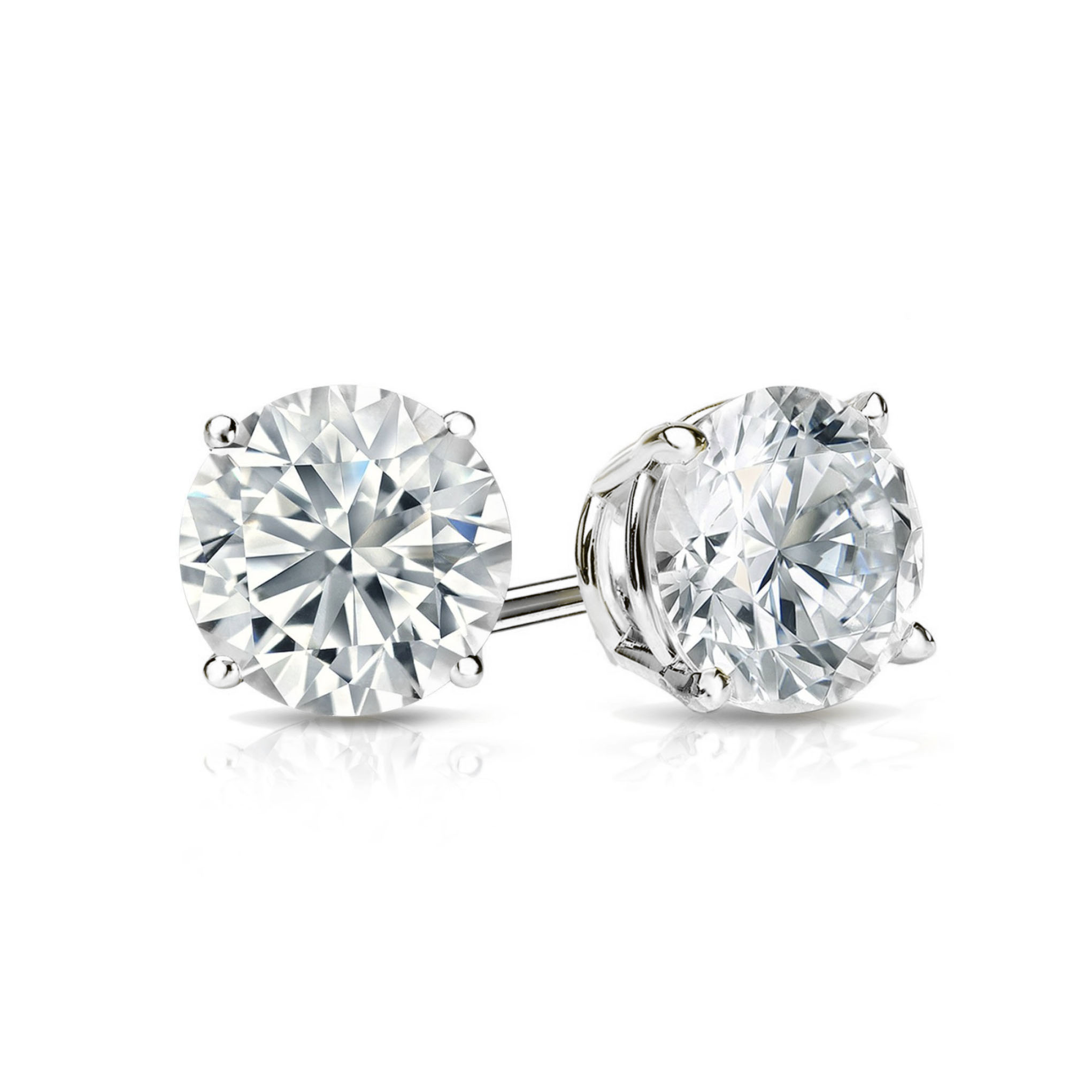 White Gold   Platinum Round Diamond Stud Earrings (0.20-4.00) CTW ... a85953d34