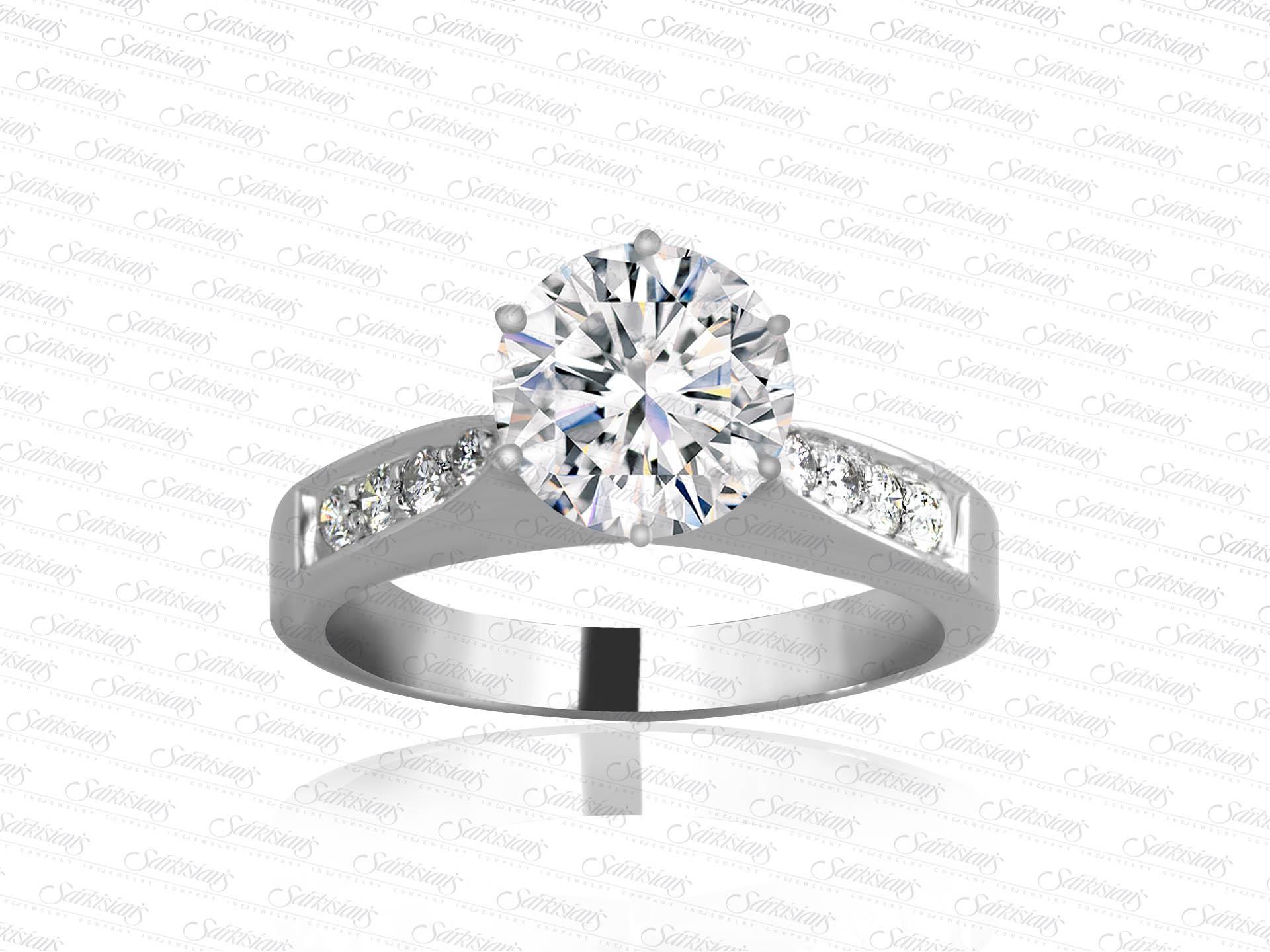 Bead Set Diamond Engagement Ring, Gold or Platinum - Sarkisians Jewelry