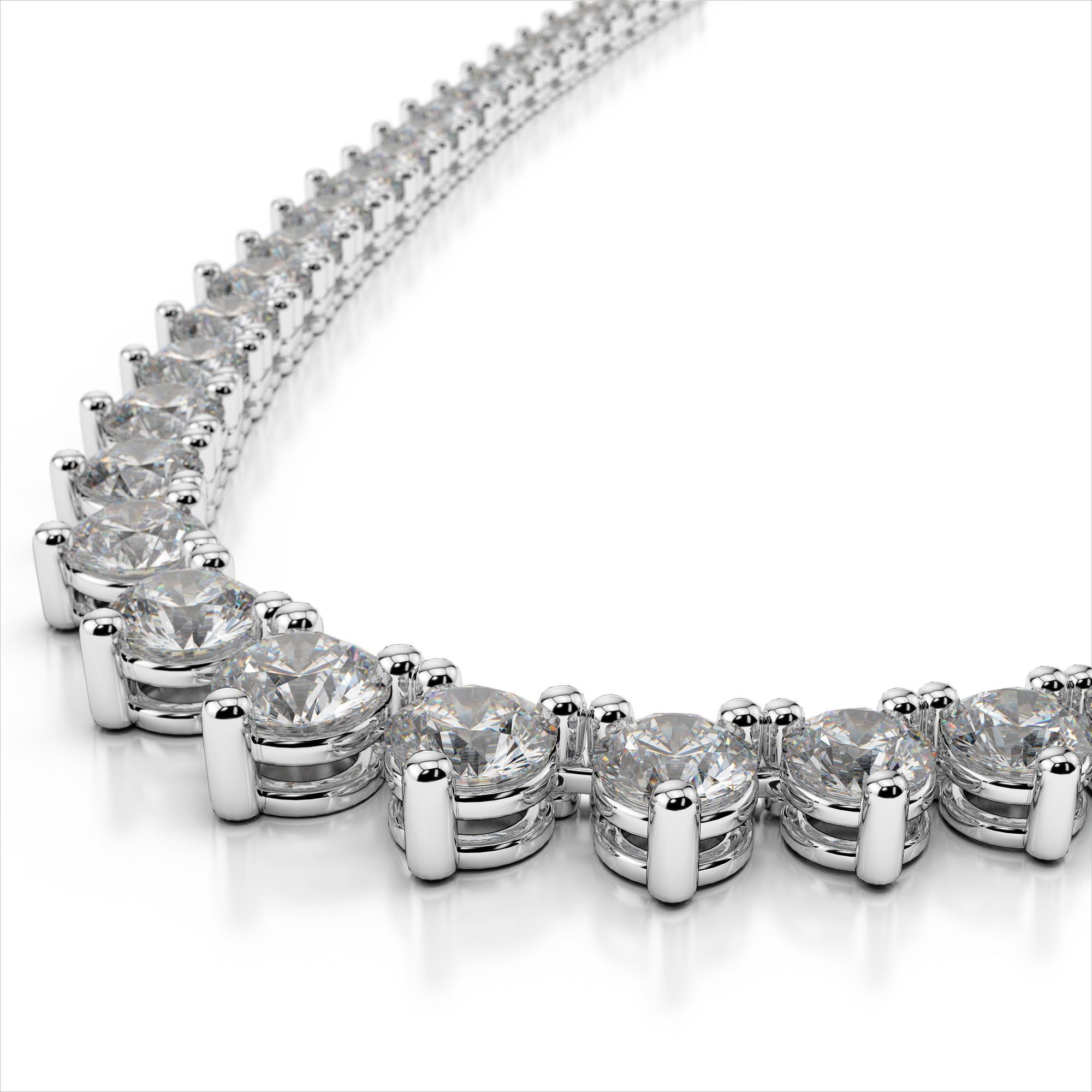7861e61b38ac4b 3 Prong Tennis Necklace With Graduate Diamond Sizes - Sarkisians Jewelry