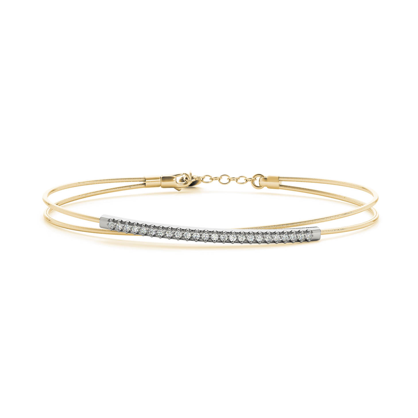 Gold Italy Platinum: Italian Flexible Diamond Bangle Bracelet 0.14 Carats Gold