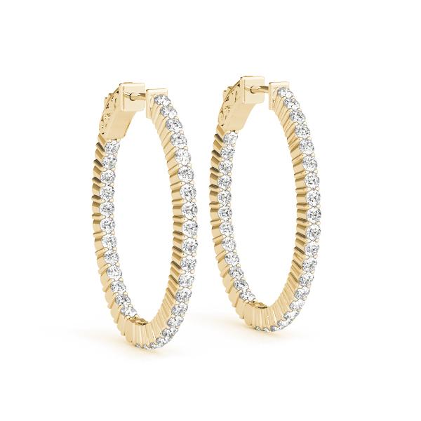 Modern Diamond Hoop Earring Yellow Gold 41020 Alt