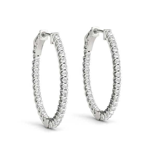 Modern Diamond Hoop Earrings White Gold 41025 5