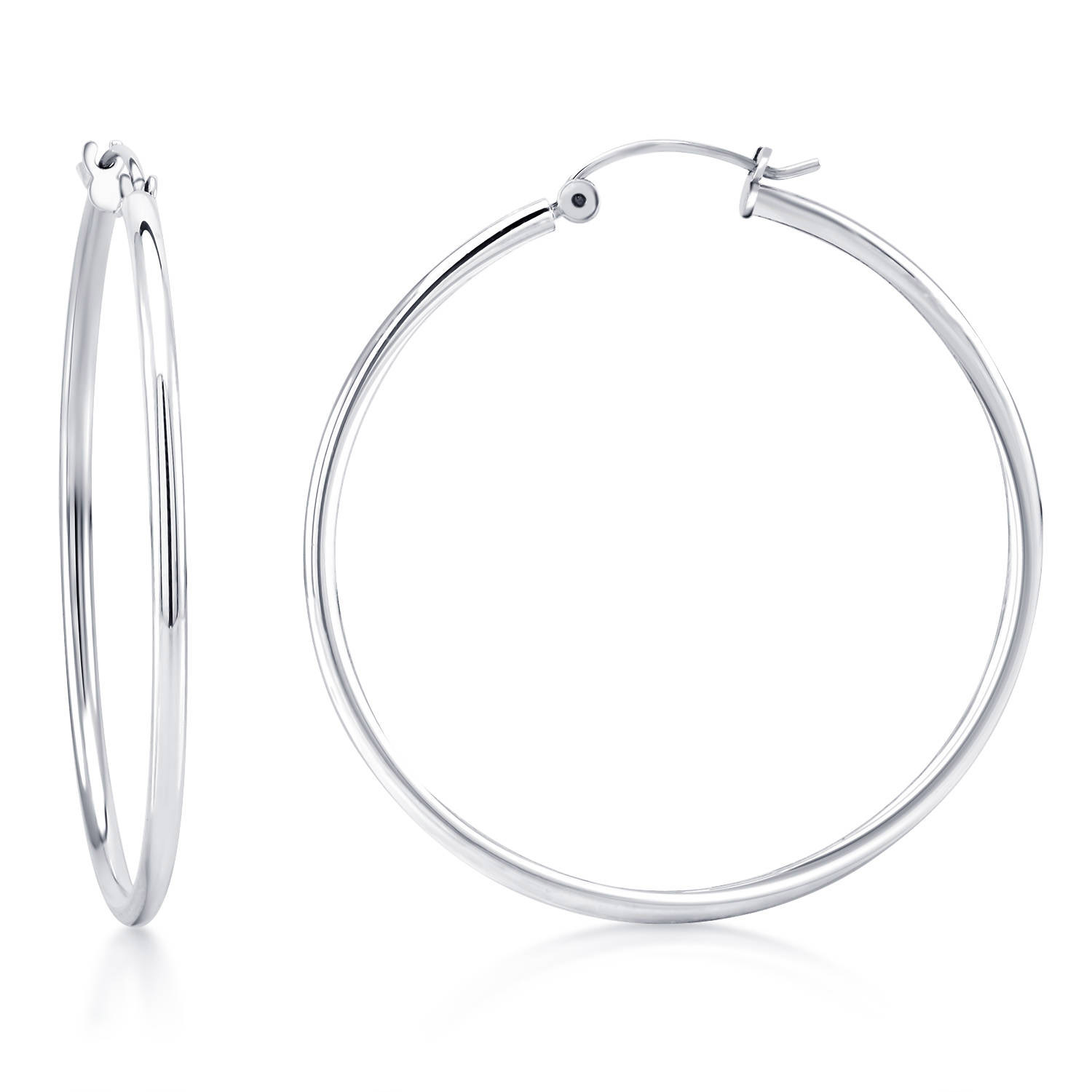 White Gold Hoop Earrings 2mm Width He2m