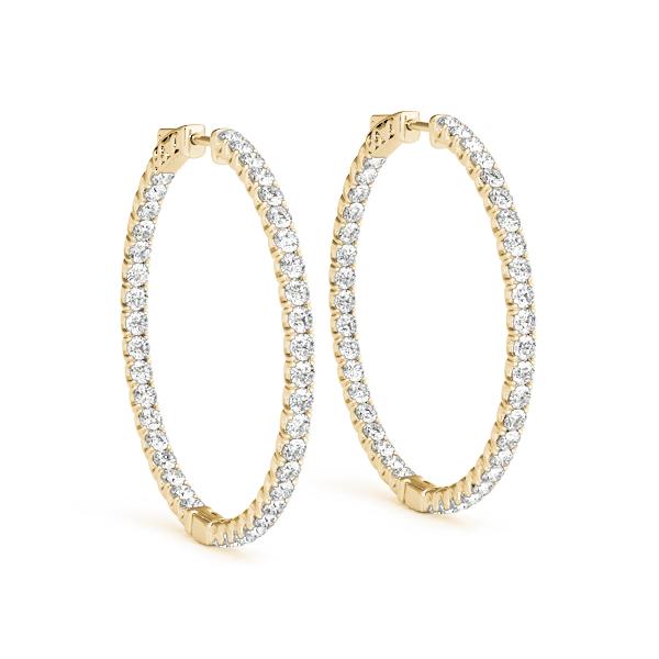 Yellow Gold Diamond Hoop Earrings