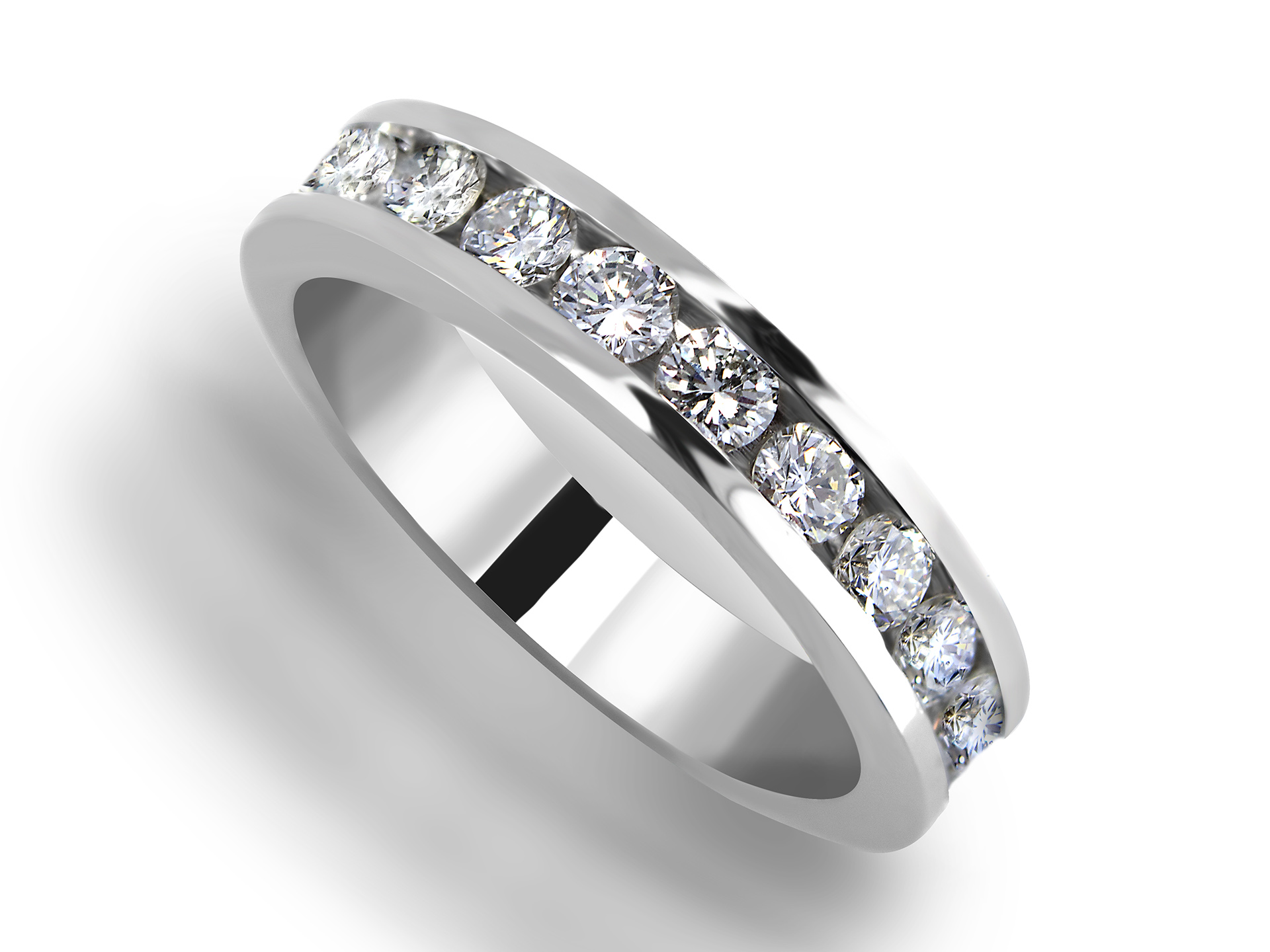 product matching channel set engagement band wedding ring bridal diamond