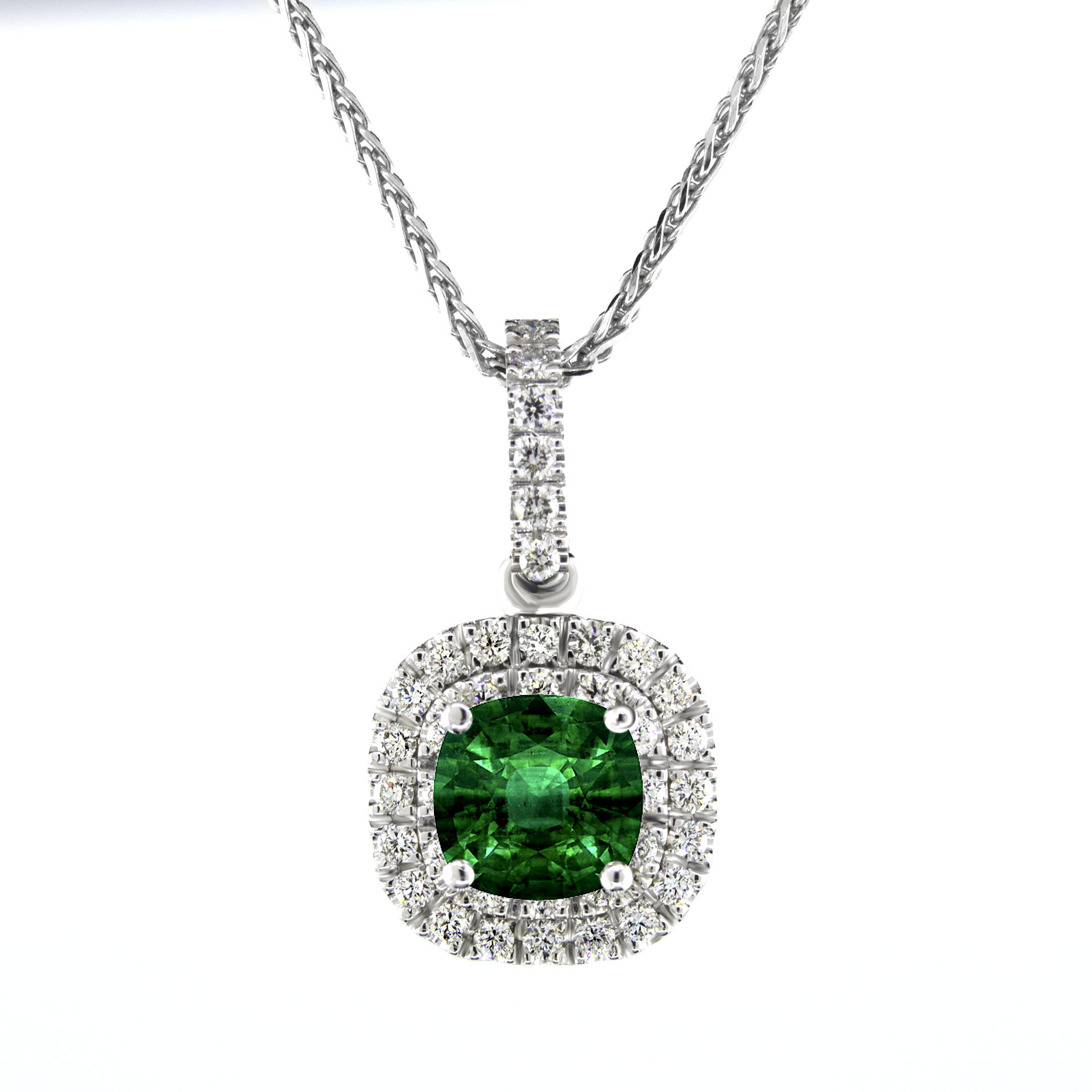gold surround emerald and pendant white necklace diamond