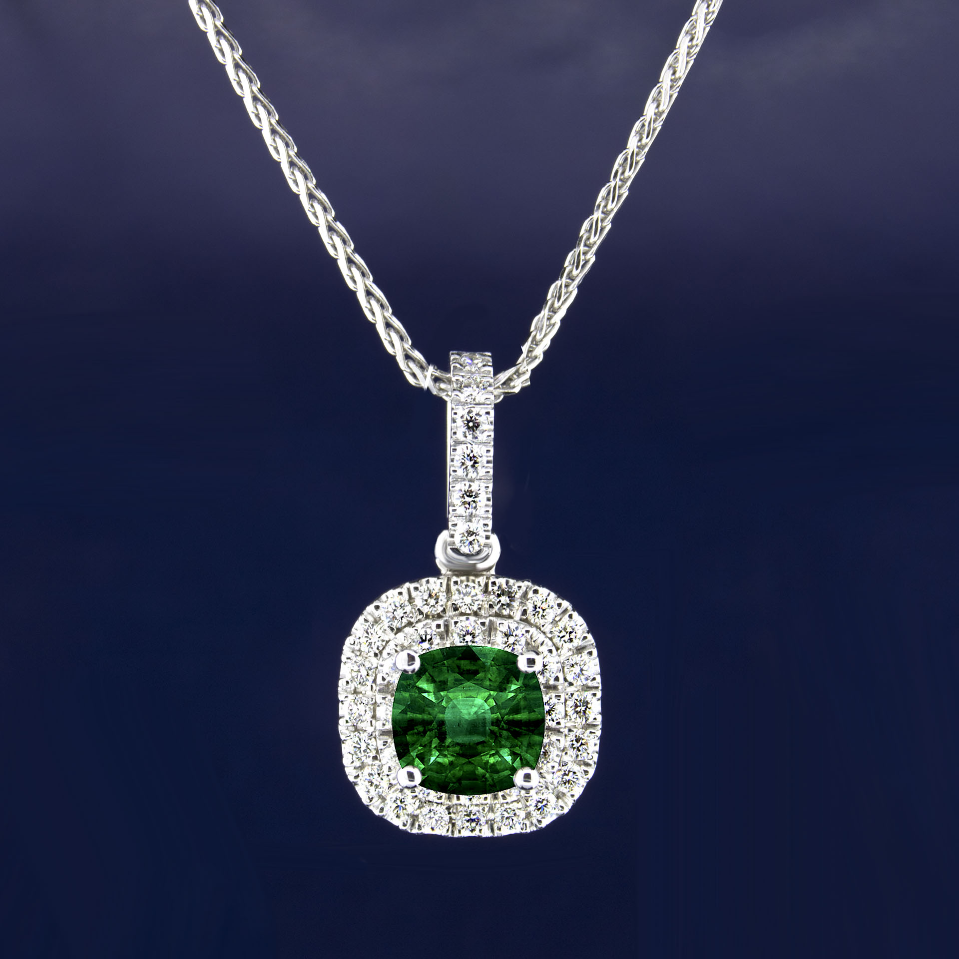 Natural emerald cushion center and 38 side diamonds center halo natural emerald cushion center and 38 side diamonds center halo pendant sarkisians jewelry aloadofball Images