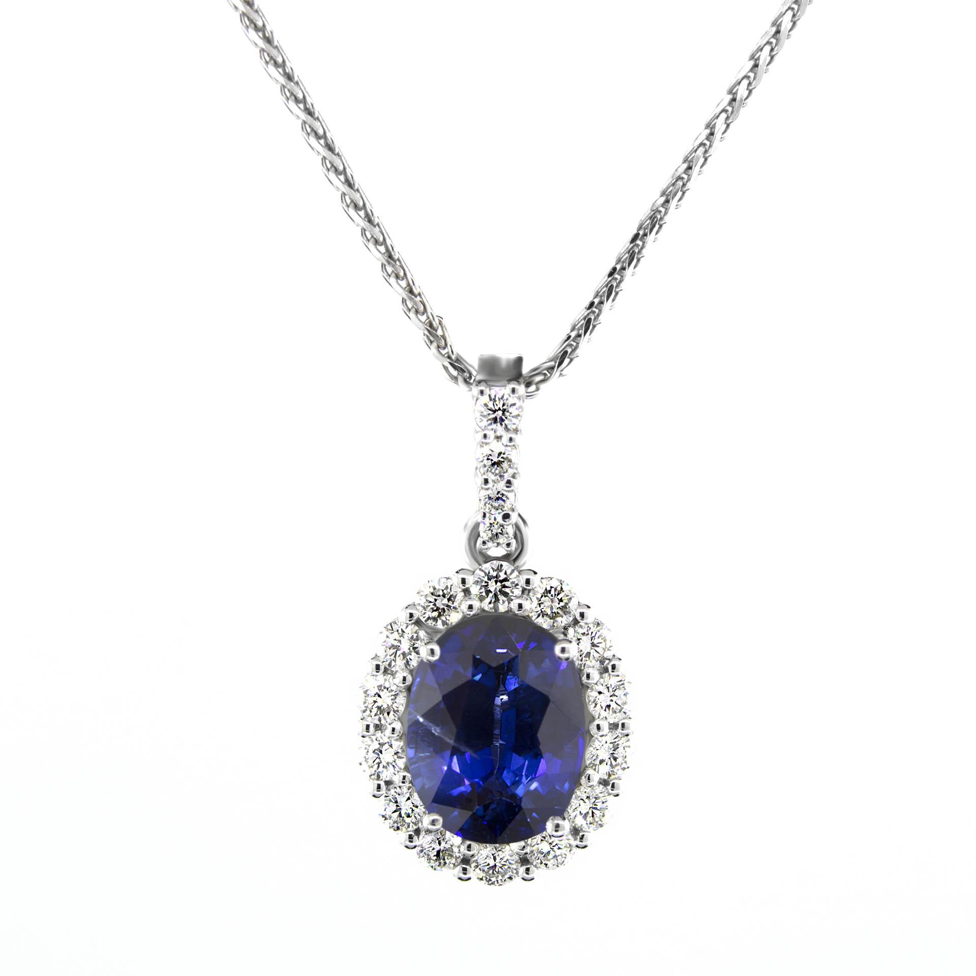 151 carat blue sapphire 18 side diamonds oval center halo gemstone 151 carat blue sapphire 18 side diamonds oval center halo gemstone pendant aloadofball Choice Image