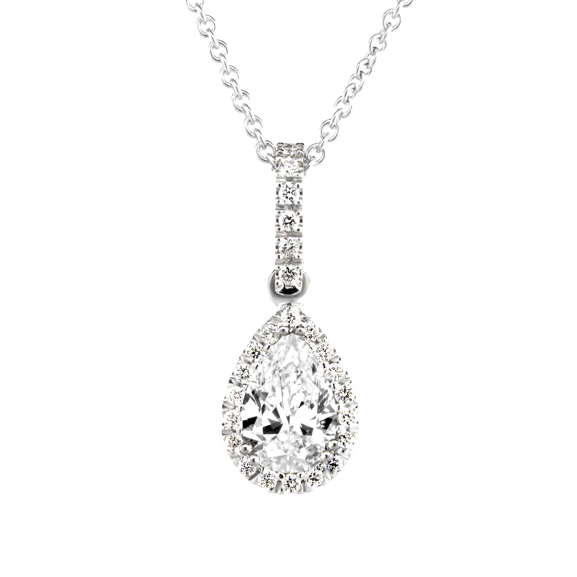 click diamond necklace halo pendant shaped image to enlarge pear shape carat