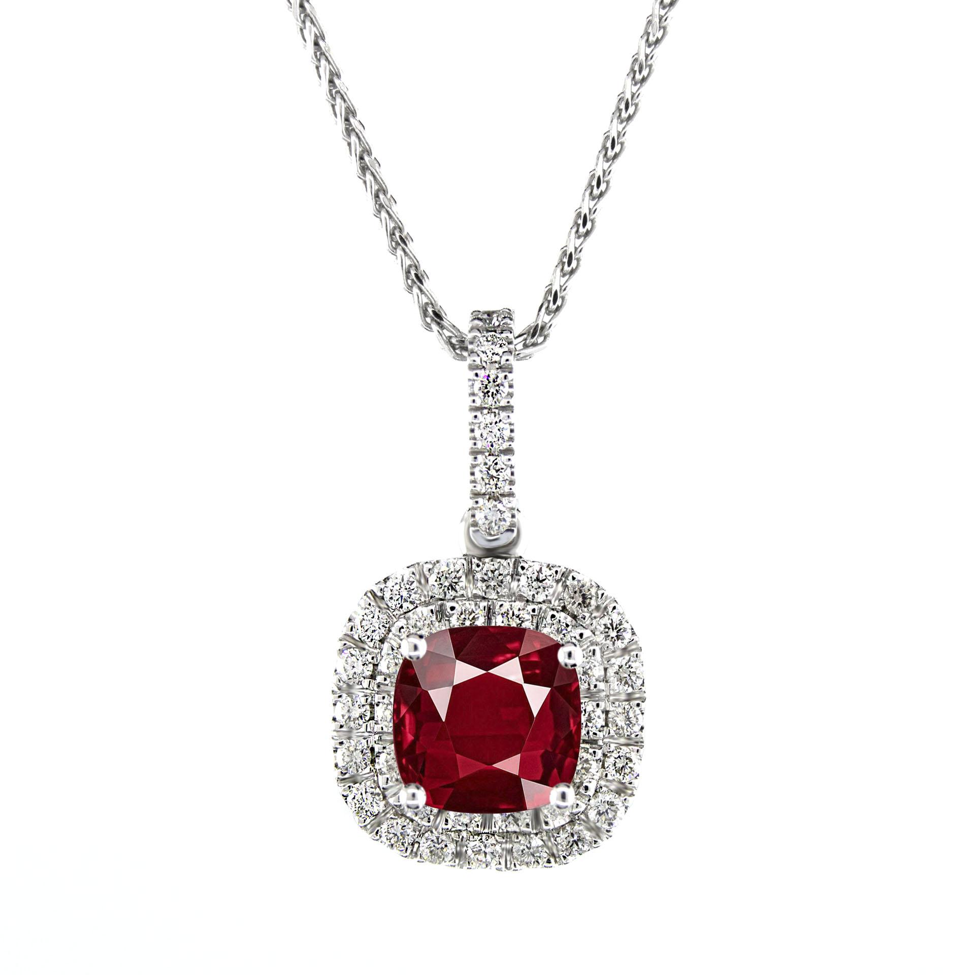 080 carat genuine ruby cushion gemstone with 40 side diamonds halo 080 carat genuine ruby cushion gemstone with 40 side diamonds halo pendant mozeypictures Gallery