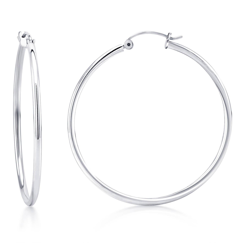 14k White Gold Clic Hoop Earrings 2mm Wide