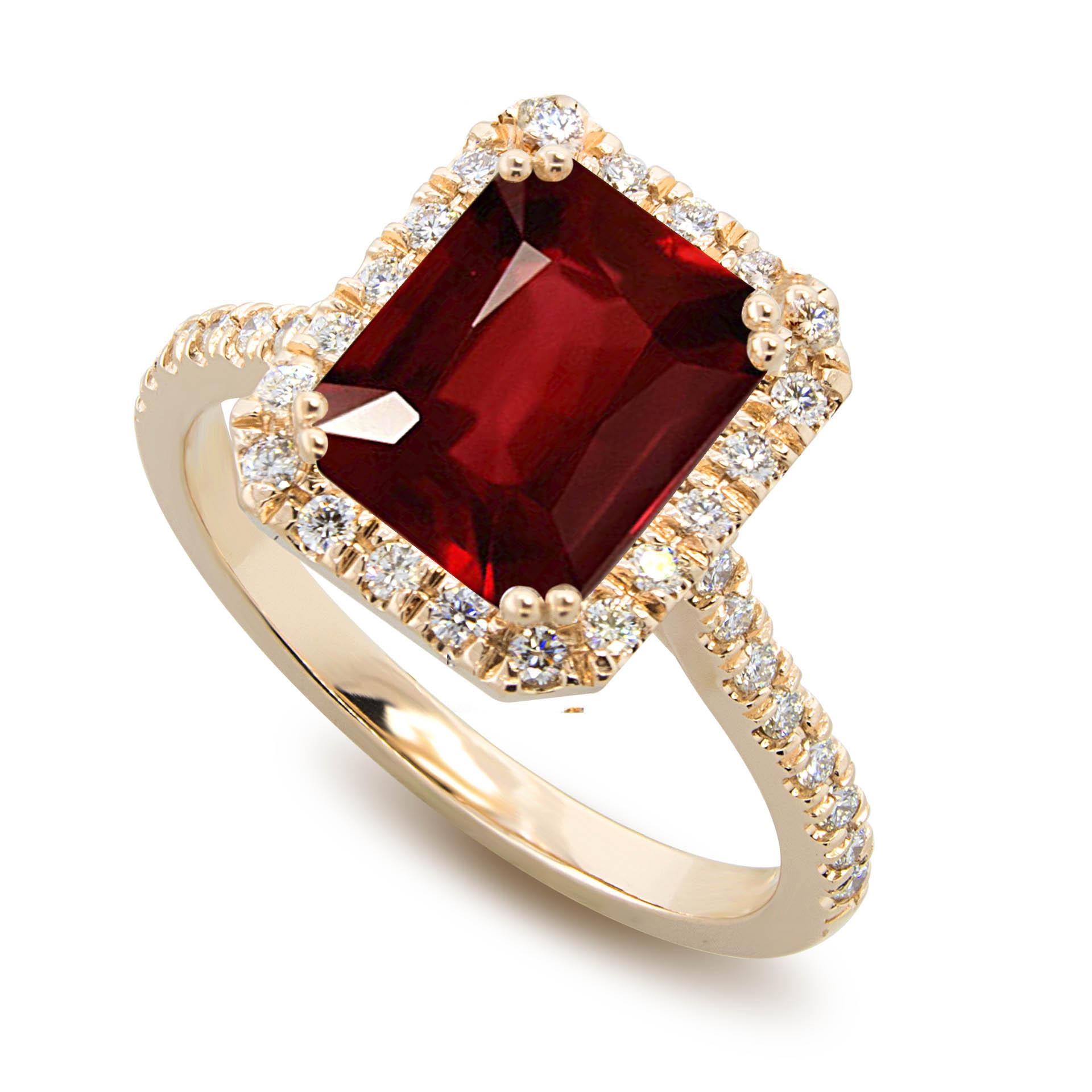 646b38a0c3634 Genuine Burma Ruby Halo Engagement Ring, Gold or Platinum