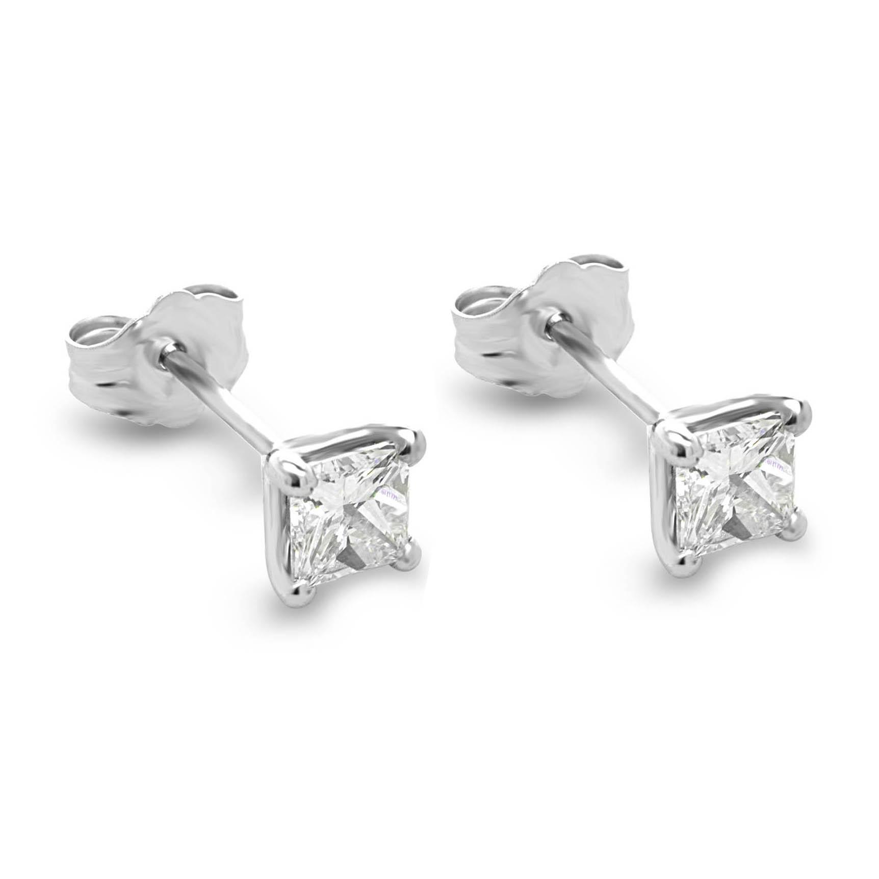 efa63d559 0.62 Carats Princess Cut Diamond Stud Earrings, Gold or Platinum ...