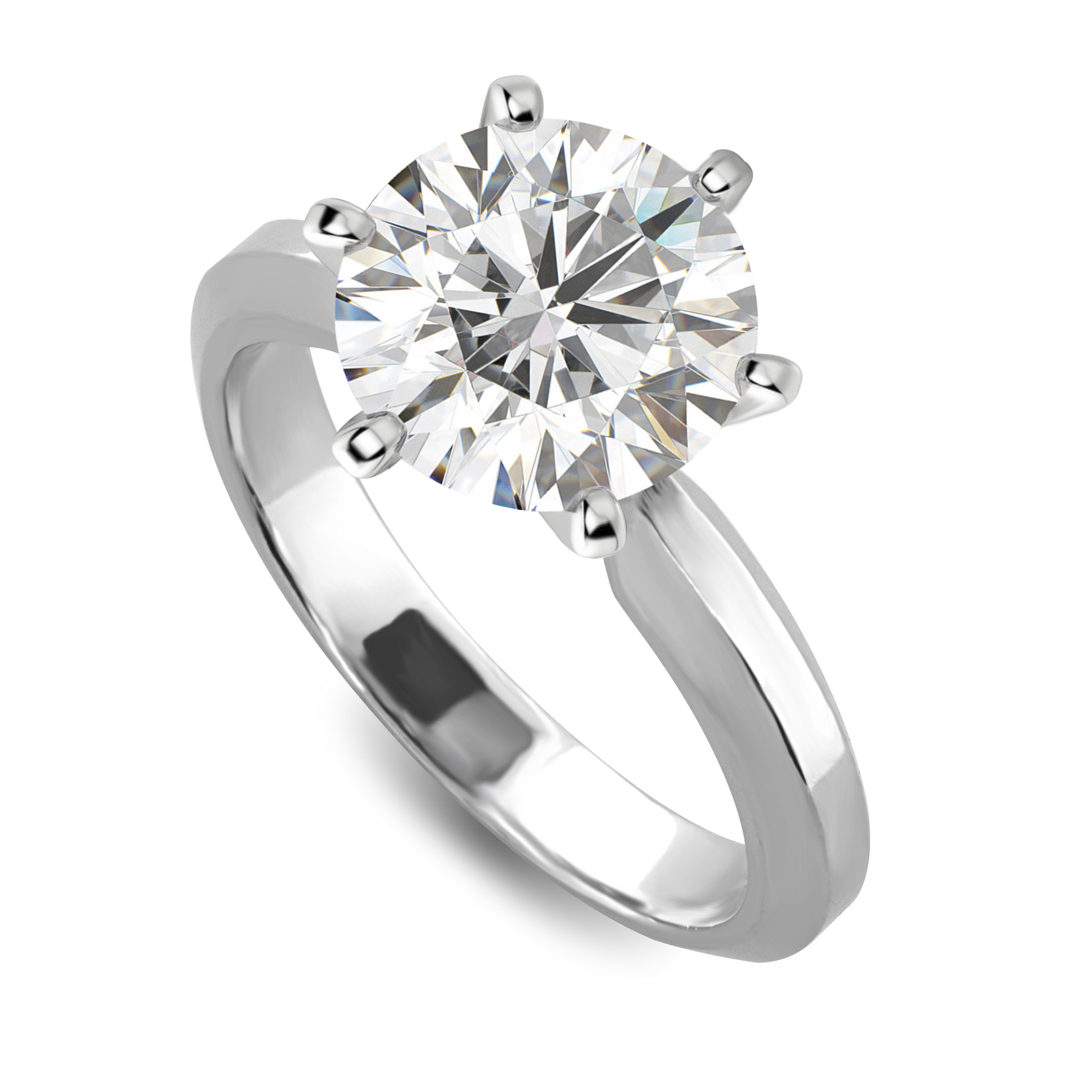 6 prong round diamond solitaire engagement ring gold or