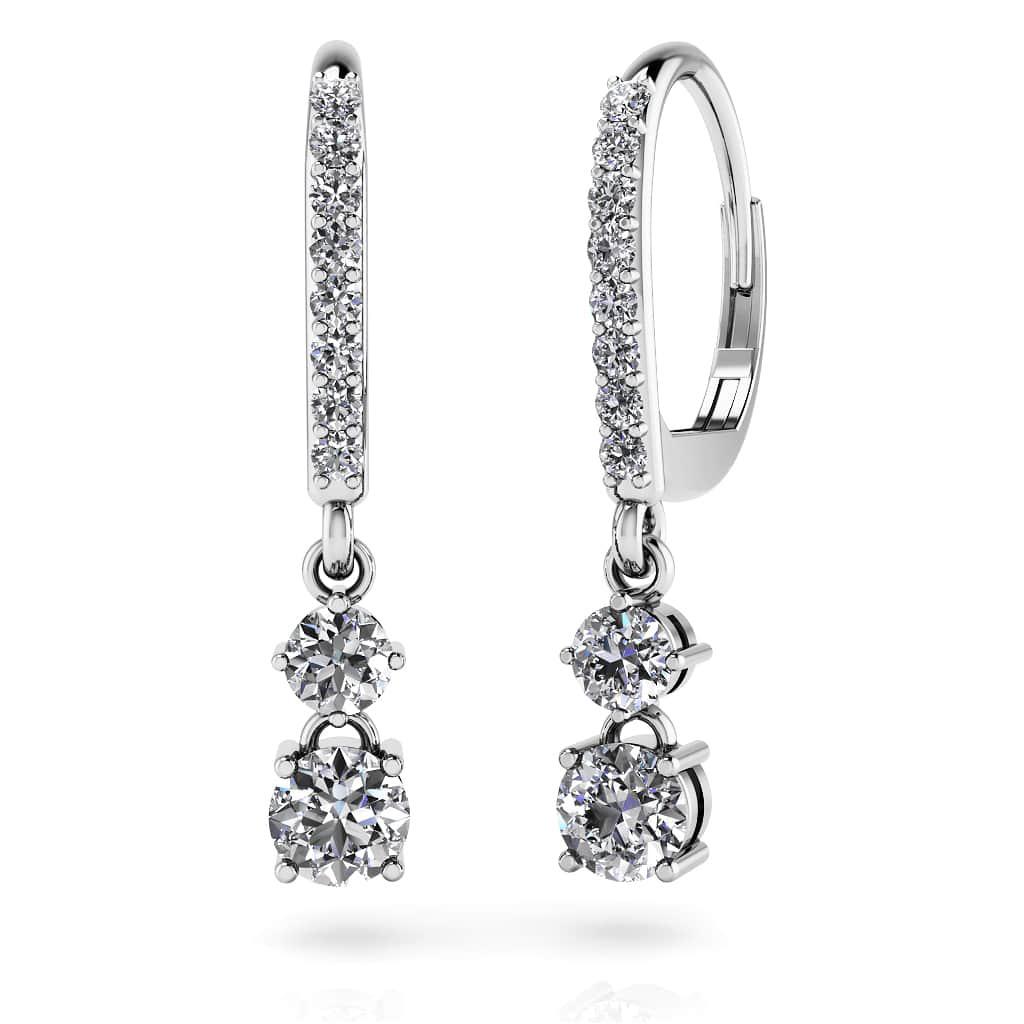 0 93 Carat Double Drop Diamond Hoop Earrings Gold Or Platinum Sarkisians Jewelry